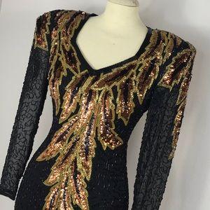 Vintage black sequins dress
